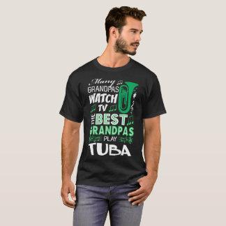 Many Grandpas Watch TV Best Play Tuba Music Tshirt