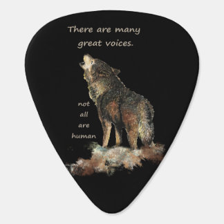 Many great voices Inspirational Wolf Quote Guitar Pick