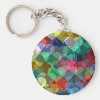many hearts behind wet glass basic round button keychain