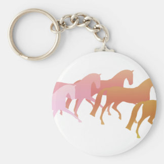 Many Horses  (pink to rust) Basic Round Button Keychain