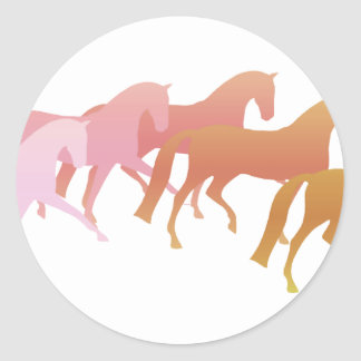 Many Horses  (pink to rust) Classic Round Sticker