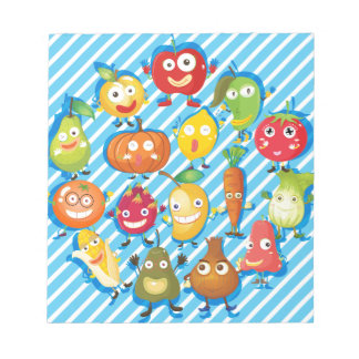 Many kind of fruits and vegetables notepad