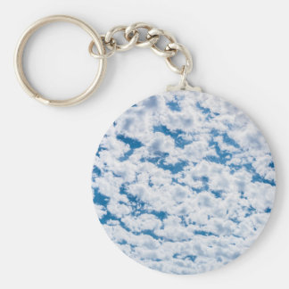 Many little white clouds and blue sky basic round button keychain