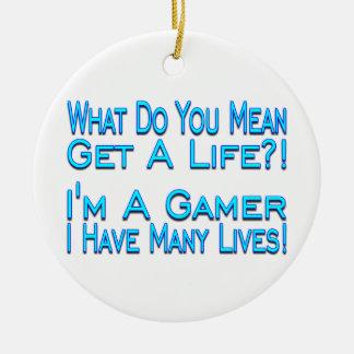 Many Lives Gamer Ceramic Ornament