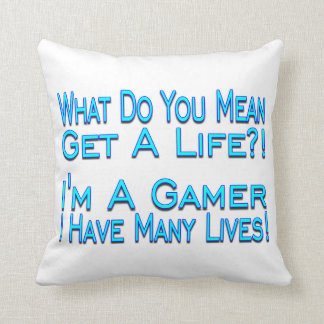 Many Lives Gamer Throw Pillow