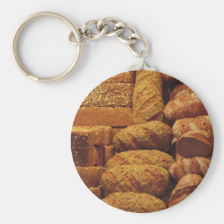 Many mixed breads and rolls background basic round button keychain