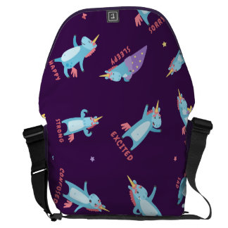Many Moods of a Pink, Blue, and Purple Unicorn Commuter Bag