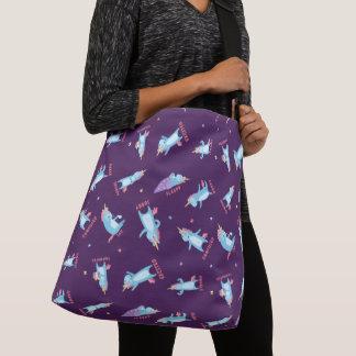 Many Moods of a Pink, Blue, and Purple Unicorn Crossbody Bag