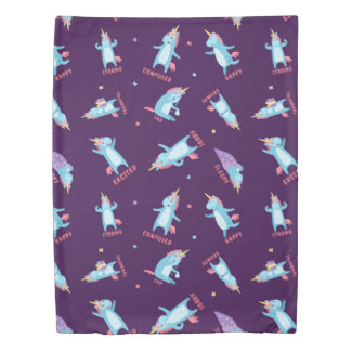 Many Moods of a Pink, Blue, and Purple Unicorn Duvet Cover