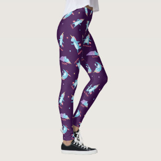 Many Moods of a Pink, Blue, and Purple Unicorn Leggings