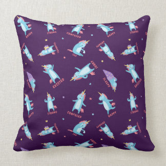 Many Moods of a Pink, Blue, and Purple Unicorn Throw Pillow