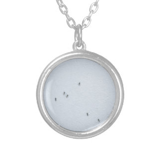 Many mosquitoes on a wall silver plated necklace