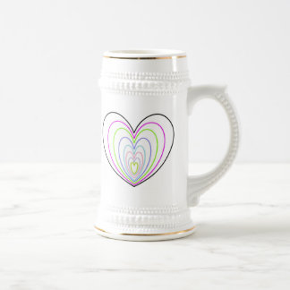 Many Multi Colored Optical Illusion Neon Hearts Beer Stein