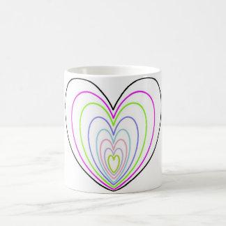 Many Multi Colored Optical Illusion Neon Hearts Coffee Mug