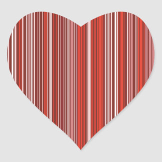 Many multicolored strips in the red sample heart sticker