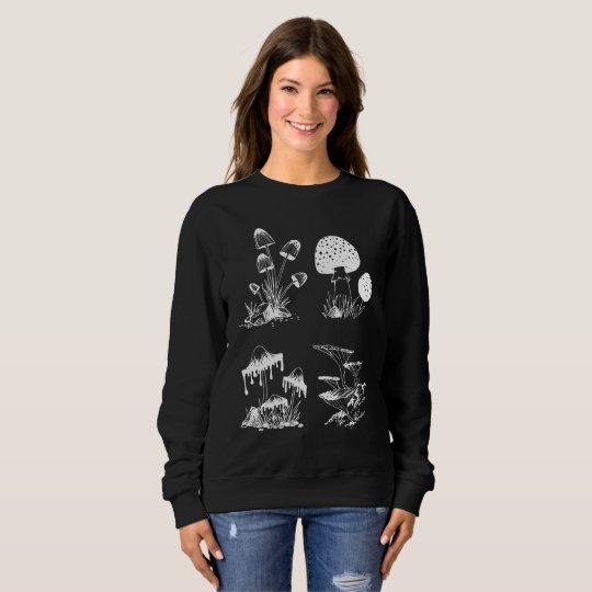Many Mushrooms white on black Sweatshirt