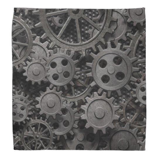 Many old rusty metal gears or machine parts head kerchiefs