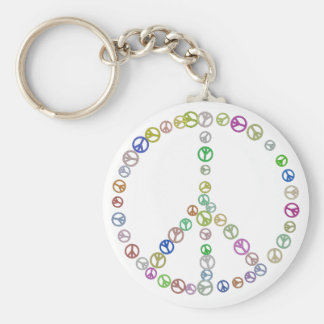 Many Peace Signs in One Basic Round Button Keychain