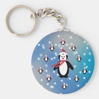 Many Penguins Basic Round Button Keychain