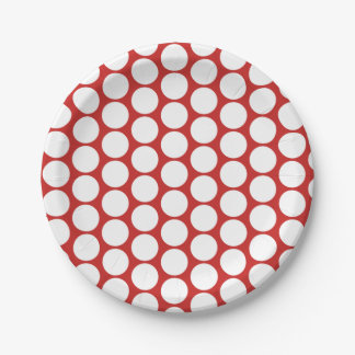 Many Polka Dots Red Paper Plate