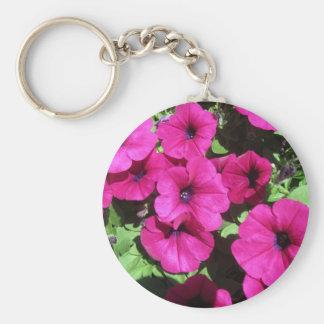Many Purple Petunias Basic Round Button Keychain