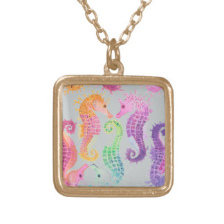 Many seahorses gold plated necklace