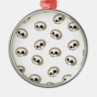 Many skulls Silver-Colored round ornament