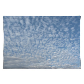 Many soft clouds against blue sky background placemat