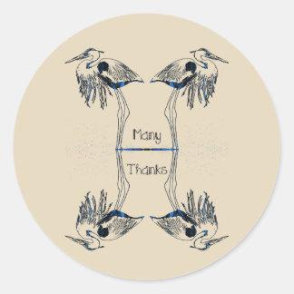 Many Thanks Herons Classic Round Sticker
