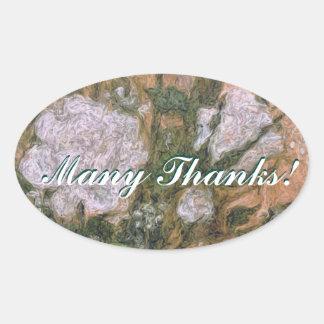 Many Thanks Oval Sticker
