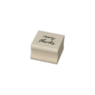 Many Thanks Script Rubber Stamp