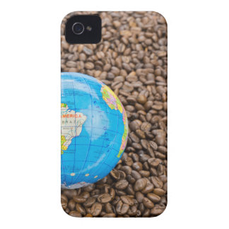 Many whole coffee beans with South America globe Case-Mate iPhone 4 Case