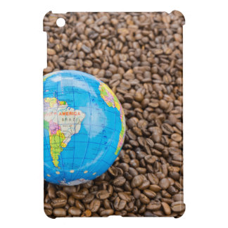 Many whole coffee beans with South America globe Cover For The iPad Mini