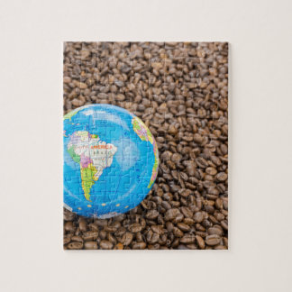 Many whole coffee beans with South America globe Jigsaw Puzzle