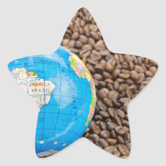Many whole coffee beans with South America globe Star Sticker