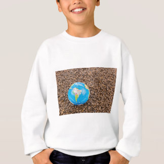 Many whole coffee beans with South America globe Sweatshirt