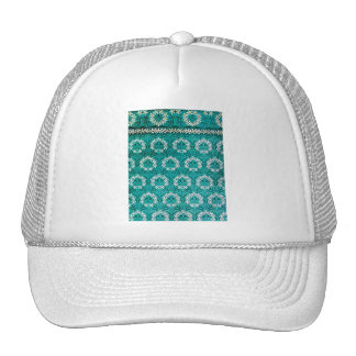 MANYTHANKS TEAL FLORAL WHITE YELLOW WREATHS PATTER HAT