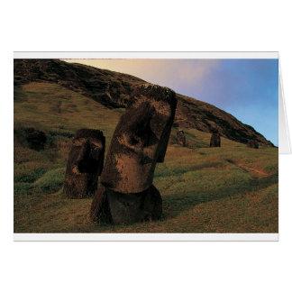 Maoi statues Rapa Nui (Easter Island). Card