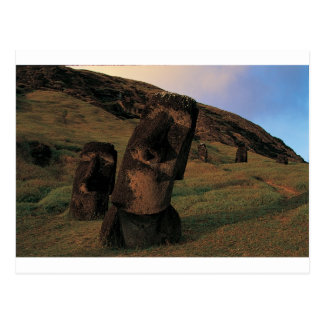 Maoi statues Rapa Nui (Easter Island). Postcard