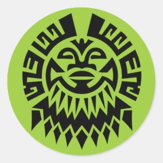 Maori Face Round Sticker