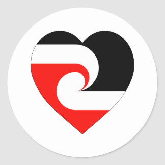 Maori Flag Heart Classic Round Sticker