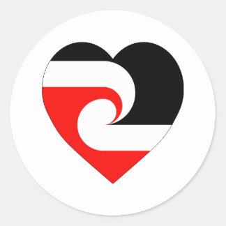 Maori Flag Heart Round Sticker