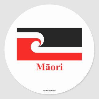 Maori Flag with Name in Maori Round Sticker