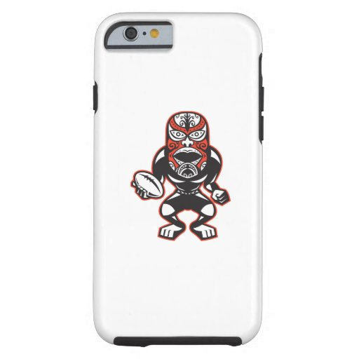 Maori Mask Rugby Player Running With Ball Fending iPhone 6 Case