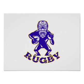 Maori Mask Rugby Player Running With Ball Fending Poster