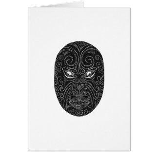 Maori Mask Scratchboard Card
