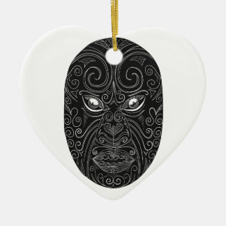 Maori Mask Scratchboard Ceramic Ornament