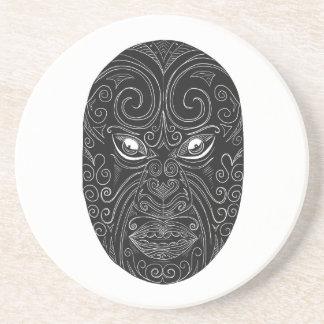 Maori Mask Scratchboard Coaster