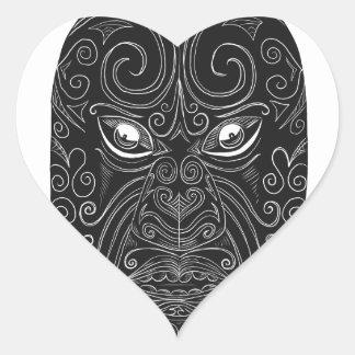 Maori Mask Scratchboard Heart Sticker