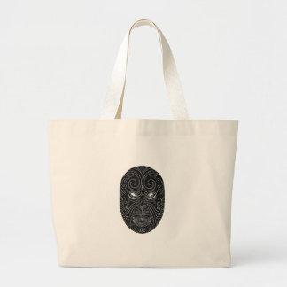 Maori Mask Scratchboard Large Tote Bag